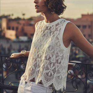 Anthropologie Scalloped Lace Top